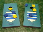 Cornhole (Baggo) Games with my family crest on them.  I used your service to place my name on them.