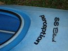 Main lettering on front of Kayak