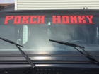 windshield and names on the sides
